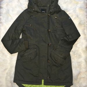 Sam Edelman Green Long Lined Military Jacket Sz S